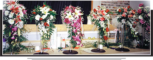 Floral designs created by students at the Midwest Floral Design School